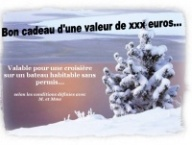 Example of a gift voucher for a river cruise on the end of year festivities represented by a snowy tree
