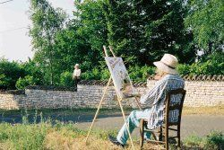 Painter in front of his easel met during a walk in Burgundy