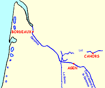 Map of the waterways of Aquitaine: Lot, Garonne, Canal Lateral to the Garonne and Baïse in the Midi-Aquitaine region