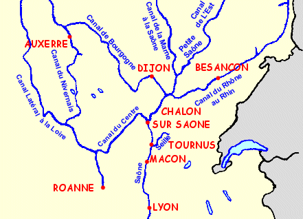 Map of waterways, rivers and canals of Burgundy accessible by license freeboat