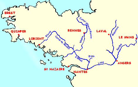 Map of the rivers and canals of Brittany and Anjou. Canal from Nantes to Brest, Sarthe, Mayenne, Vilaine, Canal d'Ille and Rance