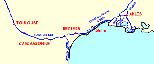 Map of the Canal du Midi and the Canal du Rhône at Sète all accessible by license free boat  in the Midi-Aquitaine region