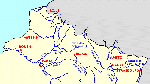 Map of the rivers and canals of Alsace, the Ardennes and the Somme