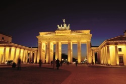 Night view of the famous Brandenburg Gate in Berlin, Germany