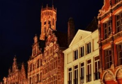 Typical facades of historic houses in the old districts of Bruges, Antwerp, Ghent... Belgium