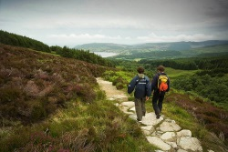 Hiking trail in Scotland on the mythical Ben Nevis overlooking the Caledonian Canal