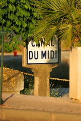 Signpost of the Canal du Midi, the Europe's most famous navigable waterway