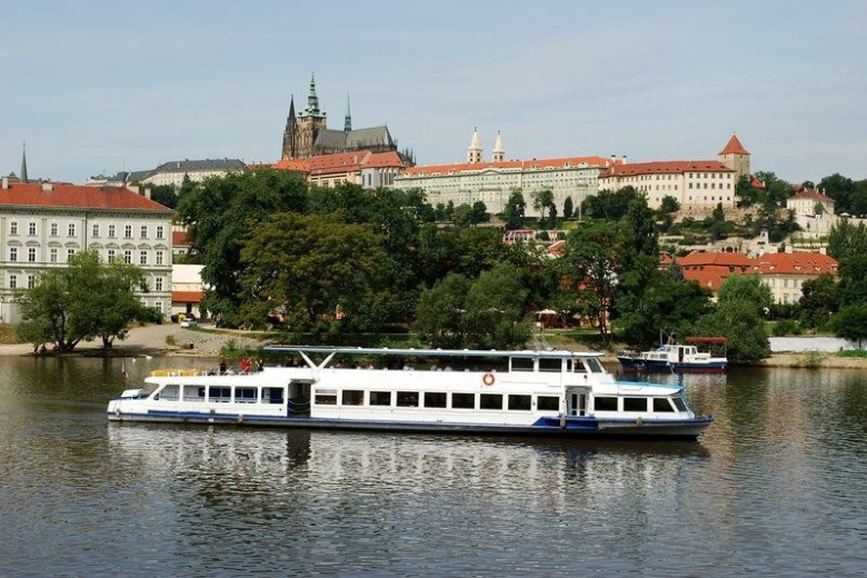 Czech Republic - Passenger boat sailing on the Vltava in Prague, capital of the Czech Republic